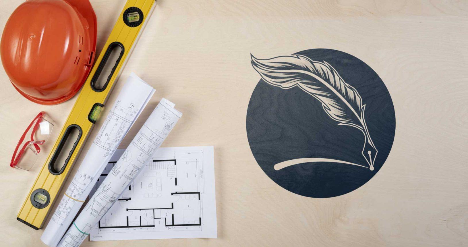 Pencil Feather Mockup Logo