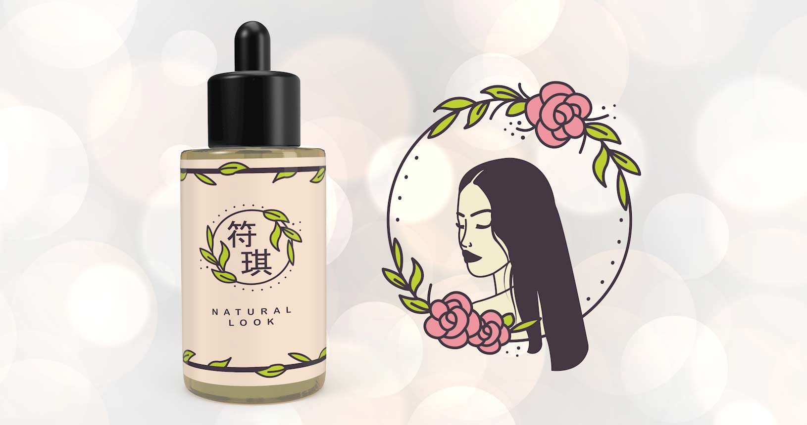 Asian Female Bottle mockup