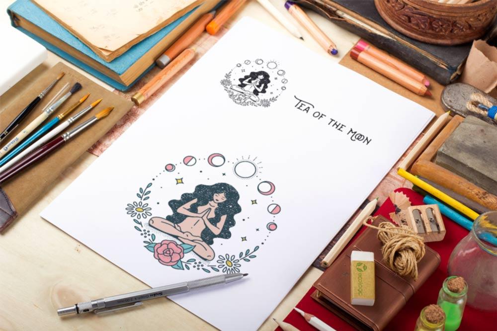 Sketch Design Yoga Logo